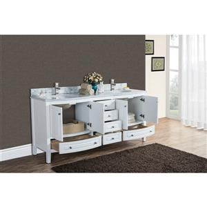 GEF Adelyn Vanity with Carrara Marble Top, 72-in White