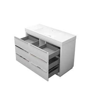 GEF Brooke Vanity with Acrylic Top, 48-in White
