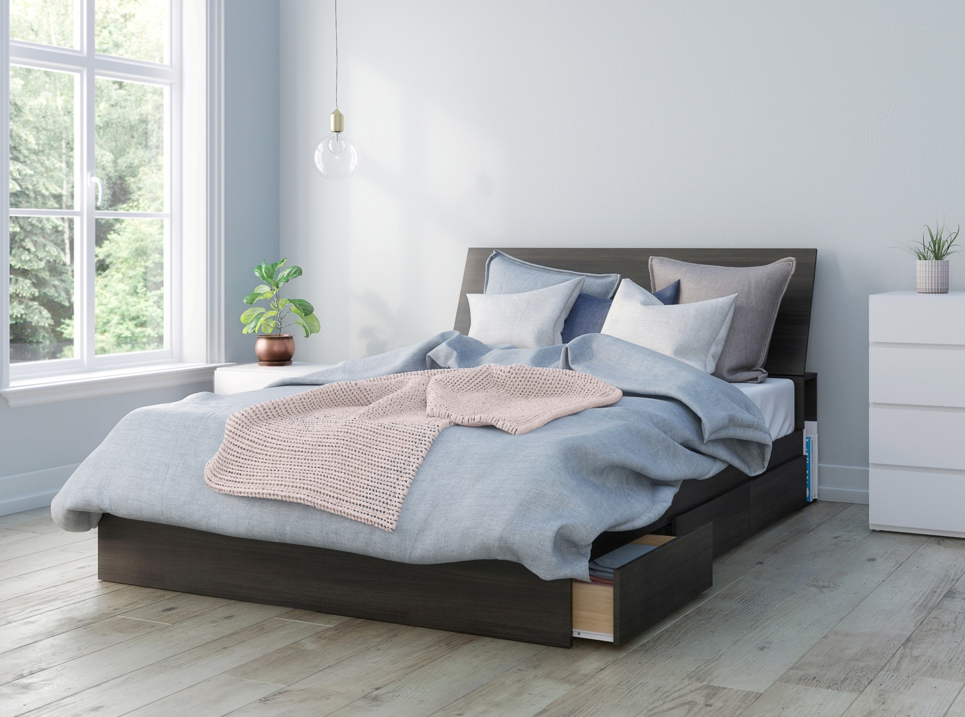 Nexera Iris Contemporary Queen Bedroom Set - 3 Pieces - Ebony/White