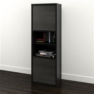 Nexera Sereni-T Contemporary Bookcase - 2-Doors - Black/Ebony