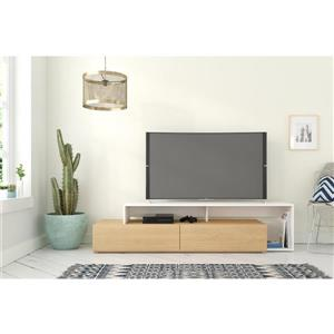 Nexera TV Stand - 72-in - Wood - Natural Maple/White