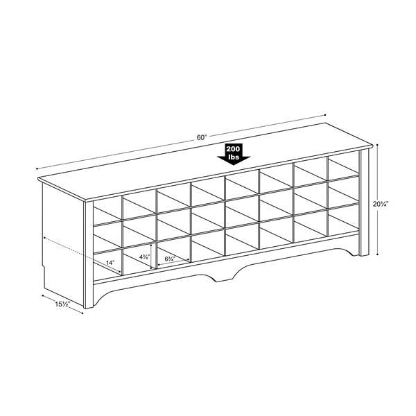 Wondrous Prepac Shoe Storage Cubby Bench 24 Pair Drifted Grey Evergreenethics Interior Chair Design Evergreenethicsorg