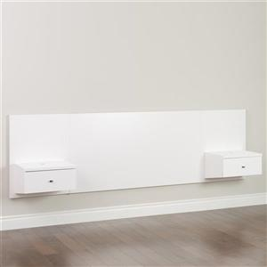 Prepac Floating Queen Headboard with Nightstands, White