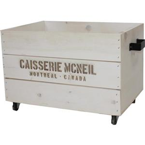 McNeil White wooden crate on wheels with black metal handles