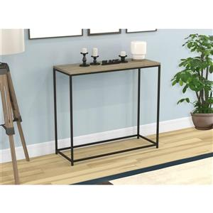 Safdie & Co. Console Table - Dark Taupe & Black Metal Base - 32-in L