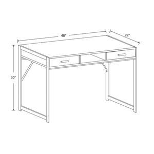Safdie & Co. Computer Desk With Drawers Distressed Wood /Black Metal 48-in