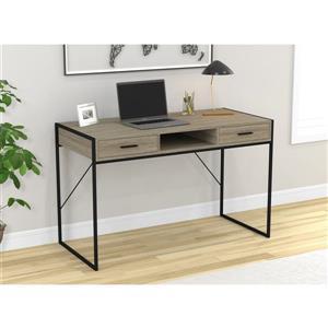 Safdie & Co. Computer Desk With Drawers- Grey Wood/Black Metal - 48-in