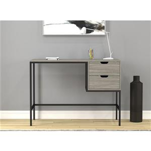 Safdie & Co. Computer Desk With Drawers - Grey Wood /Black Metal - 48-in