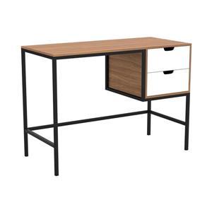 Safdie & Co. Computer Desk Walnut With White Drawers/Black Metal