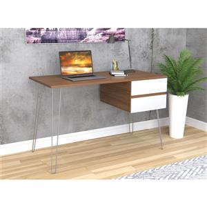 Safdie & Co. Computer Desk - Walnut With White Drawers/Black Metal - 48-in