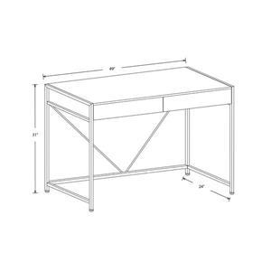 Safdie & Co. Computer Desk- Dark Taupe/Black Metal - 49-in