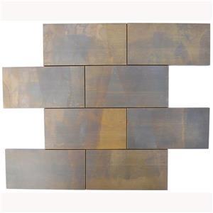 """Eden Mosaic Tiles  Large Brick Antique Copper Mosaic Subway Tile - 3""""x6"""" - 11-Pack"""