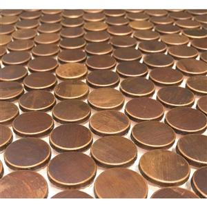 "Eden Mosaic Tiles  Penny Round Antique Copper Mosaic Tile - 11-Pack - 12""x12"""