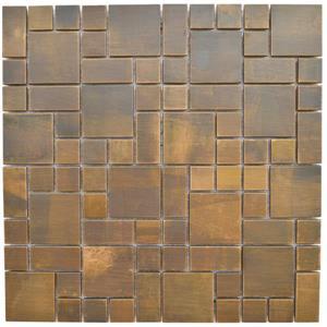 Eden Mosaic Tiles  Cobble Pattern Mosaic Tile -  Antique Copper - 11-Pack