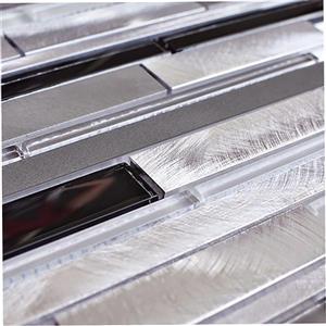 Eden Mosaic Tiles  Mosaic Tile Brick Pattern Glass Aluminum Blends - 11-Pack