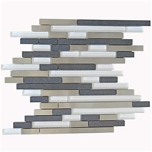 Eden Mosaic Tiles  Modern Random Dark Gray Steel - Glass - Stone Tile - 11-Pack