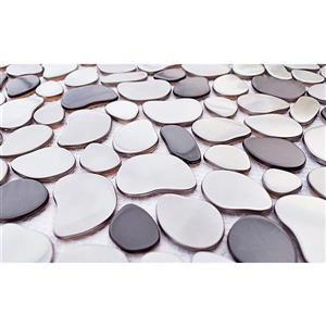 Eden Mosaic Tiles  River Rock Mosaic Stainless Steel Tile Black Silver 11-Pack