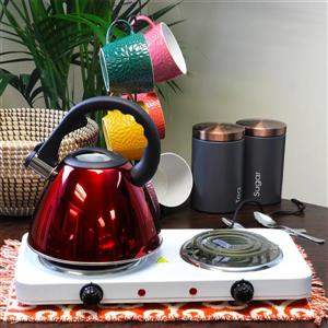 Mr. Coffee Clarendon Tea Kettle - 2.6 L - Polished Steel - Red