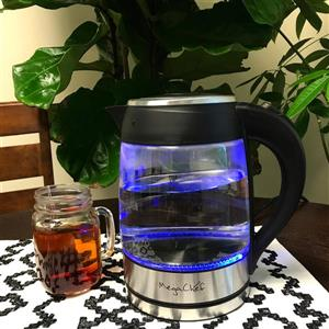 MegaChef Electric Tea Kettle - 1.8L - Glass/Stainless Steel