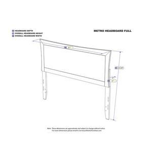 Atlantic Furniture Metro Full Contemporary Headboard - Walnut
