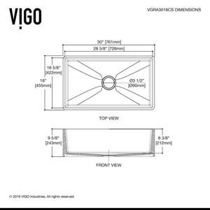 VIGO Kitchen Sink with Faucet and Strainer - 30-in