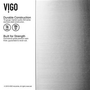 VIGO Kitchen Sink with Faucet, Grid & Strainer - 23-in X 20-in