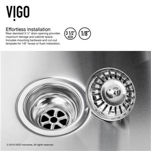 VIGO Kitchen Sink with Faucet and Grid - 23-in X 18-in