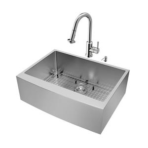 VIGO Kitchen Sink with Faucet, Grid and Strainer - 30-in