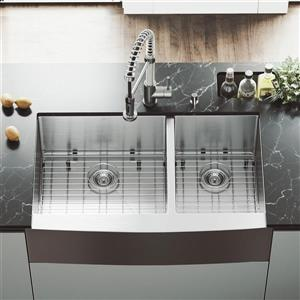 VIGO Kitchen Sink with Faucet, Grids and Strainers - 36-in