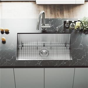 VIGO Kitchen Sink with Faucet, Grid, Strainer - 30-in