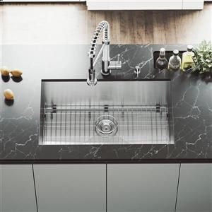 VIGO Kitchen Sink with Faucet, Grid, Strainer - 30-in