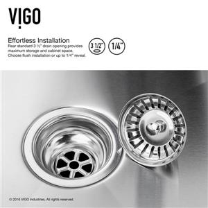 VIGO Kitchen Sink with Faucet, Grids and Strainers - 33-in
