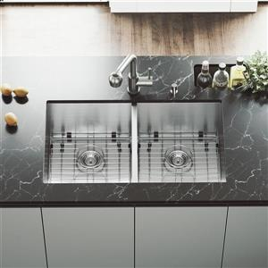 VIGO Kitchen Sink with Faucet, Grids and Strainers - 32-in