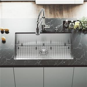 VIGO Kitchen Sink with Faucet, Grid and Strainer - 32-in