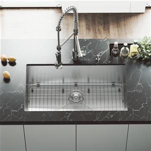 VIGO Kitchen Sink with Faucet, Colander & Strainer - 32-in