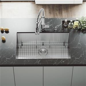 VIGO Kitchen Sink with Faucet , Grid and Strainer - 30-in
