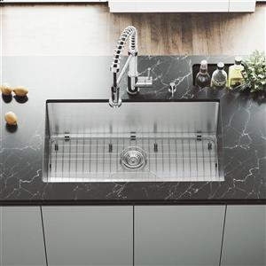 VIGO Kitchen Sink with Faucet , Grid and Strainer - 32-in