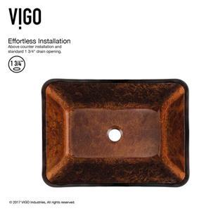 Vigo Glass Vessel Bathroom Sink with Faucet - 18-in- Bronze