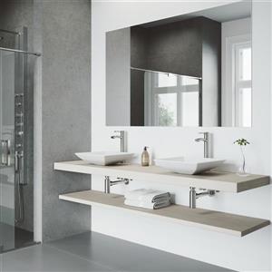 VIGO Hibiscus Vessel Bathroom Sink with Faucet - Chrome