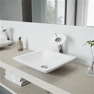 Vigo Waterfall Bathroom Vessel Faucet With Matte Stone Disk