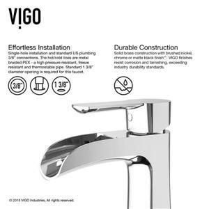 Vigo Paloma Single Hole Bathroom Faucet With Deck Plate - Chrome