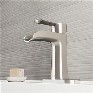 Vigo Paloma Single Hole Bathroom Faucet With Deck Plate - Nickel