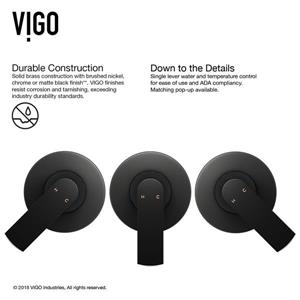 Vigo Aldous Wall Mount Bathroom Faucet - 1 Handle - Matte Black