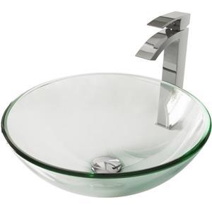 Vigo Crystalline Vessel Bathroom Sink with Faucet