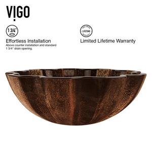Vigo Glass Vessel Bathroom Sink with Faucet - Black