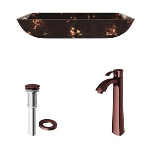 VIGO Glass Vessel Bathroom Sink with Faucet - Bronze