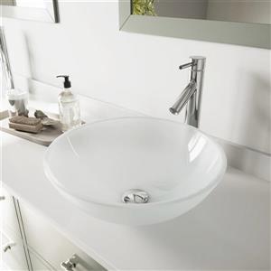 Vigo Glass Vessel Bathroom Sink with Faucet - Chrome