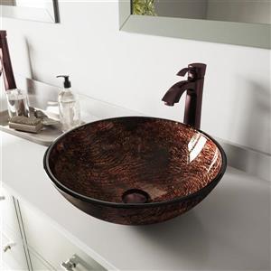 Vigo Kenyan Glass Vessel Bathroom Sink with Faucet - Bronze