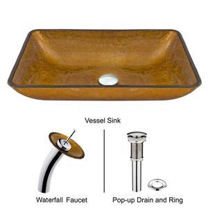 Vigo Glass Vessel Bathroom Sink & Waterfall Faucet - Chrome