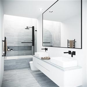 VIGO Orion Glass Bathtub Door - Clear/Black